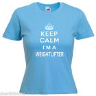 Keep Calm Weightlifter Ladies Lady Fit T Shirt Size 6 -16
