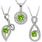 "Round Natural Green Peridot 925 Sterling Silver Pendant with 18"" Silver Chain"