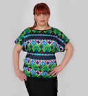 Womens Ladies Plus Size AZTEC Print Top with Back Lace Summer Everyday Party