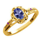 0.46 Ct Oval Blue Tanzanite Purple Amethyst Gold Plated Sterling Silver Ring