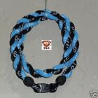 Phiten Tornado Necklace Custom Black with Carolina Blue