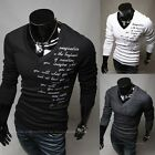 NWT Mens Korean Casual V Neck Long SLeeve Slim Fit Letters T shirts Tees Top T02