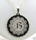 "Cherry Flower Design Monogram Initial Pendant w/Chain 18"", Sterling Silver, NEW"