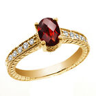 1.40 Ct Oval Checkerboard Natural Red Garnet 14K Yellow Gold Ring
