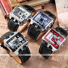 OHSEN Dual LCD Rectangle Mens Analog Digital Sport Quartz Leather Wrist Watch