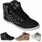 LADIES FLAT ANKLE BOOTS SPORTS HIGH HI TOP CUFFED STUDDED SKULL TRAINERS SHOES