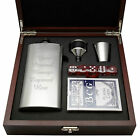 Personalised Engraved Hip Flask & Playing Card Set Dice Wooden Gift Box Birthday