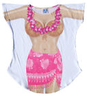 Hot Pink Sarong Hawaiian Luau Fun to Wear Women Bikini Cover Up Oversize T-Shirt