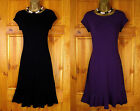 NEW WALLIS BLACK PURPLE JERSEY TEA PARTY DRESS VINTAGE 40s 50s STYLE UK 8 10 12
