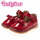 Girls Infant Toddler - Leather Squeaky Shoes - Red with Bow