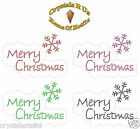 MERRY CHRISTMAS XMAS BUB IRON-ON DIAMANTE BLING CARD MAKING TRANSFER APPLIQUE