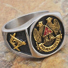 Men Masonic Ring 32 Degree Scottish Rite Freemason 24K Gold Plated Size 9-13