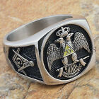 Men Masonic Ring 33rd Degree Scottish Rite Master Mason Freemason Size 9-13