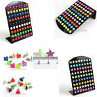 New 72pcs Mixed Lots Resin Earring Studs With Display Pad Shape ColorfulJewelry
