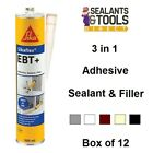 12 SIKA Sikaflex EBT Adhesive Sealant Filler White Black Grey Brown Beige Clear