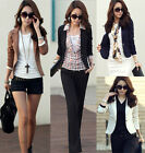 Fashion Women Slim Lapel One Button Short Blazer Casual Suit Jacket Coat US 6-12