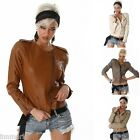 810 SEXY CROPPED ZIP WAIST BIKER JACKET LEATHER LOOK SIZE S M L UK 8 10 12