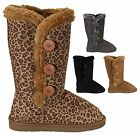 NEW Women's Snow Winter Side Button Up Classic Flat Heel Round Toe Fur Boot Shoe