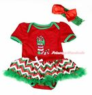 XMAS Red Bodysuit Christmas Socks Red White Green Wave Stripe Baby Dress NB-12M
