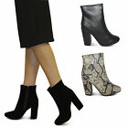 womens ladies new block heel chelsea high ankle side zip boots shoes size 3-8
