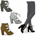 womens lace up cut out block heel ladies new peep toe strappy shoes sandals size