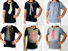 BLACK or GREY T shirt with red tie/pinstripes/ braces printed on it size M/L new
