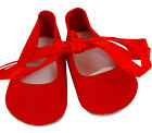 FRILLY LILY RED BALLET SHOES FOR DOLLS, LOTS OF SIZES !