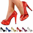 NEW WOMENS LADIES HIGH STILETTO HEEL GLITTER PLATFORM PEEP TOE PARTY SHOES SIZE
