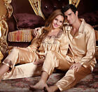 Freeshipping Yellow silk blend Women/Man Pajama Set/Sleepwear  M/L/XL/2XL