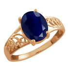 2.50 Ct Oval Blue Sapphire 925 Rose Gold Plated Silver Ring