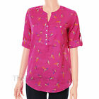 Bird Parrot Print Cotton Blouse Shirt Tunic Top ~2 COLOURS Navy Blue, Pink