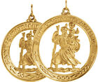 New 14K Yellow Gold Saint St. Christopher Pendant Medal Necklace