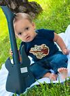 Punk Blue Rocker Music Guitar Rockabilly Baby Lap Tee shower gift shirt boy
