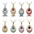 FREE GIFT/FREE P+P Bridal/party Gold Plated Tear Drop Pendant crystal Necklace