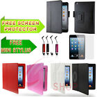 LEATHER FLIP CASE COVER FOR APPLE IPAD MINI FREE SEREEN PROTECTOR AND STYLUS