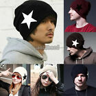 Unisex Womens Mens Knitted Star Beanie Beret Hat Winter Warm Oversized Ski Cap
