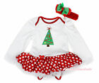 XMAS Christmas Tree White Long Sleeves Bodysuit Minnie Baby Pettiskirt NB-18M