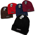 MENS BOYS FLEECE LINED THERMAL INSULATED BEANIE WINTER WARM HAT BLACK BROWN NAVY