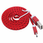 MICRO USB flat noodle Fabric Braided Data Charge Cable FOR Samsung galaxy s6 s7+