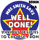 Personalised Well Done School Teachers Reward Stickers Kids Children Labels