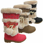 KIDS GIRL HEART STUDDED POM POM WINTER SNOW FUR LINED MID CALF BOOTS SHOES SIZES