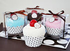 Pink Blue Brown Cupcake Towel Baby Shower Favors in Gift Box Personalized Option