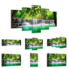 44 Shapes PREMIUM Canvas Picture/Print Wall Art Waterfall River Forest 2502 en