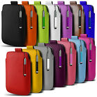 Leather PU Pull tab Pouch Case & Stylus Pen For Varous Samsung Mobile