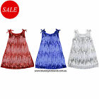 Kids Girls Party Dress 2Pcs Sequins Chiffon Dress Sz 1-12Yr  in Red-Navy-White