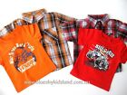 NEW Boys Kids Summer Set 2PCS Cotton TShirt+Check Shirt sz 00-0-1-2 -3-4-5-6-7