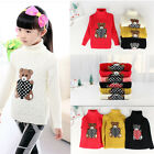 Children's Sweater Turtleneck Baby Cotton Boy Girl Pullover Outerwear Bear Coat