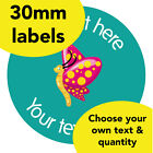 30mm Personalised stickers 'Butterfly' School bug science Teacher Animal label