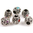 New Charms 6 Colors Heart Enamel Antique Silver Alloy European Bead Fit Bracelet