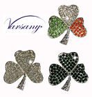ST PATRICKS DAY IRISH SHAMROCK CLOVER LEAF BROOCH BLING RHINESTONE CRYSTAL GEMS